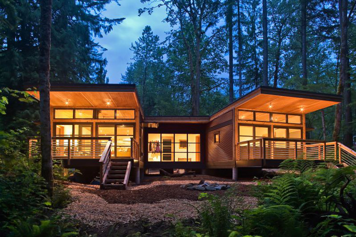 Eco modular home at night