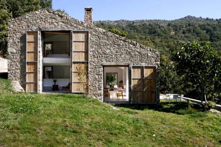 Prefab stone barn home