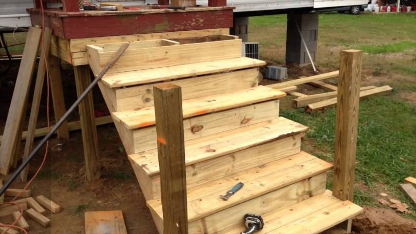 Constructing wooden steps