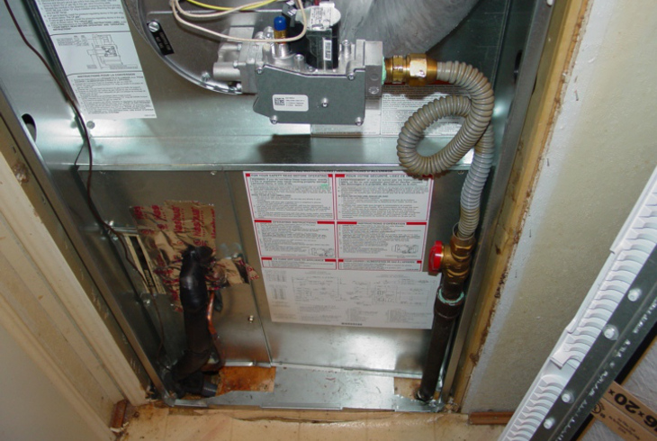 Installed ductwork on furnace