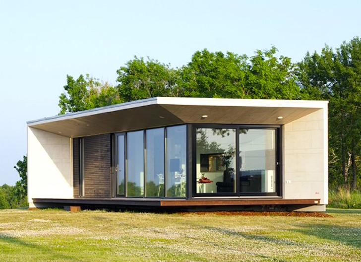 Modular home with glass doors