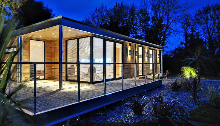 Night picture of modular home