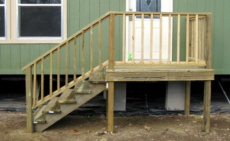 Repaired mobile home steps