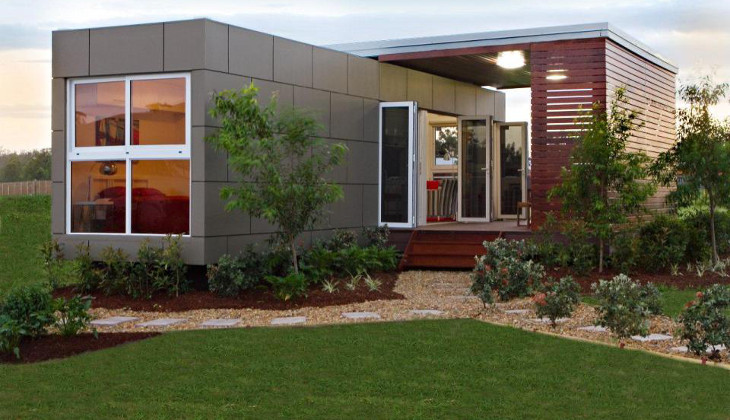 Shipping container home lawn