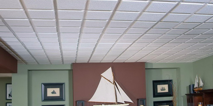 Simple textured ceiling tiles