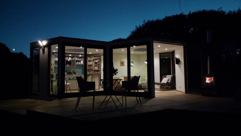 Small modular house at night