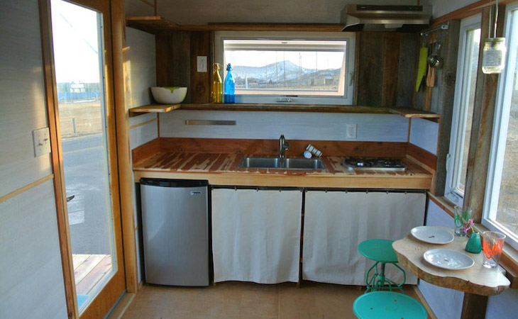 Tiny mobile home kitchen cabinet