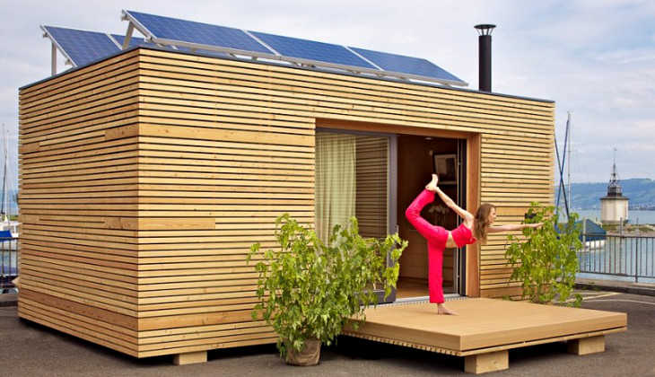 Yoga outside modular tiny home