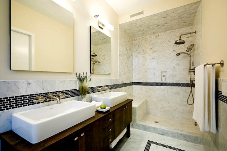 Bathroom open shower
