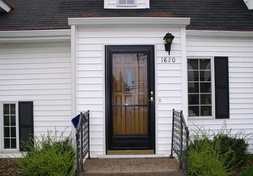 Clear storm door installed