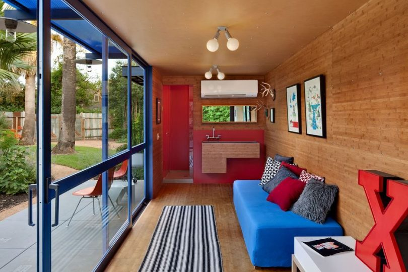 Compact shipping container house interior