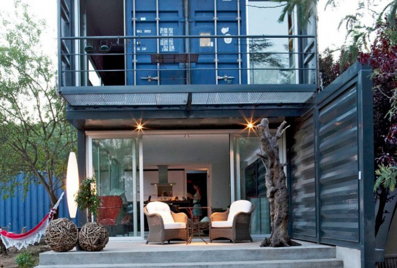 Container house with front deck