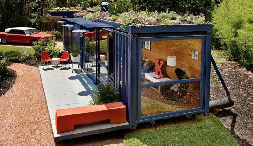 Container house with garden roof