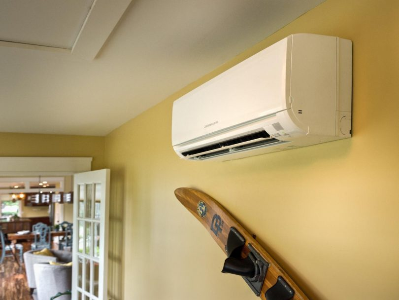 Ductless air conditioner on wall