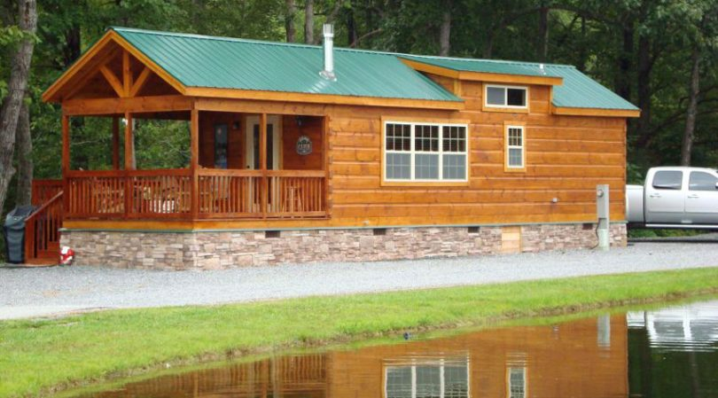 Log cabin by the lake