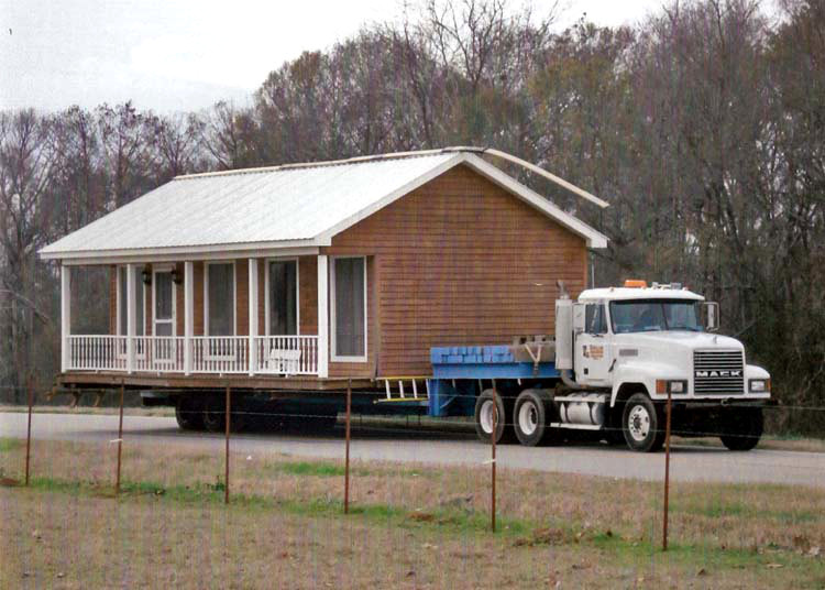 Moving double wide mobile home