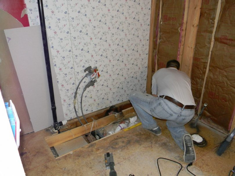 Renovating mobile home bathroom