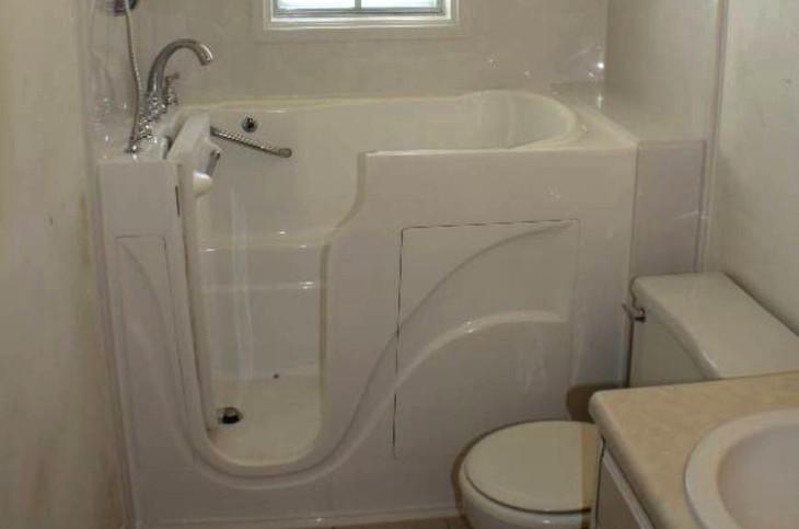 Small bathroom walkin tub
