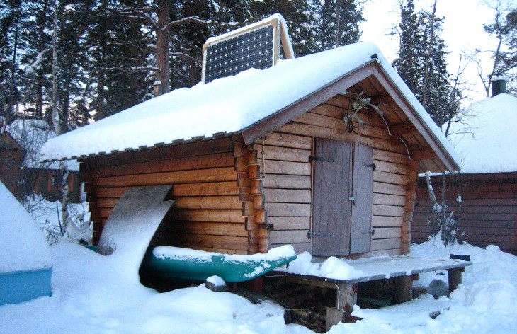 Solar powered log cabin