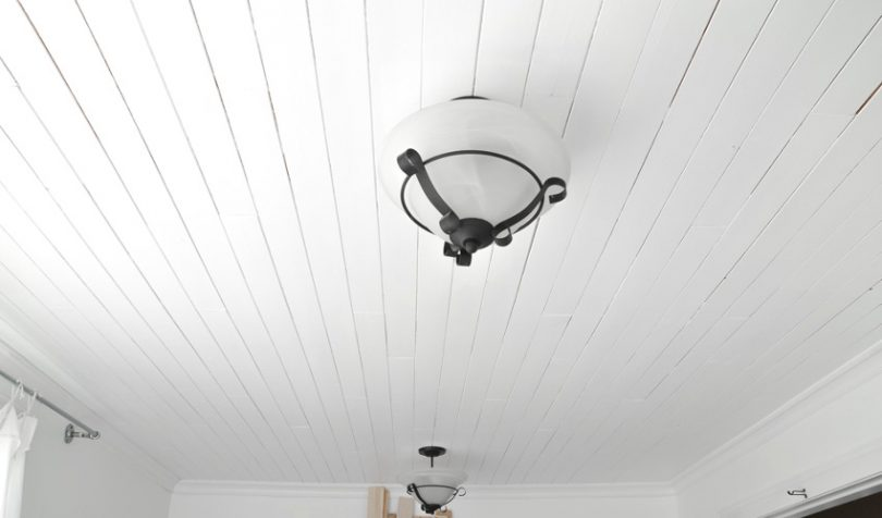 White plank bathroom ceiling