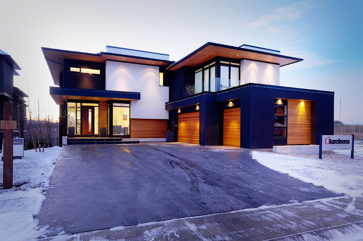Driveway of modern modular home