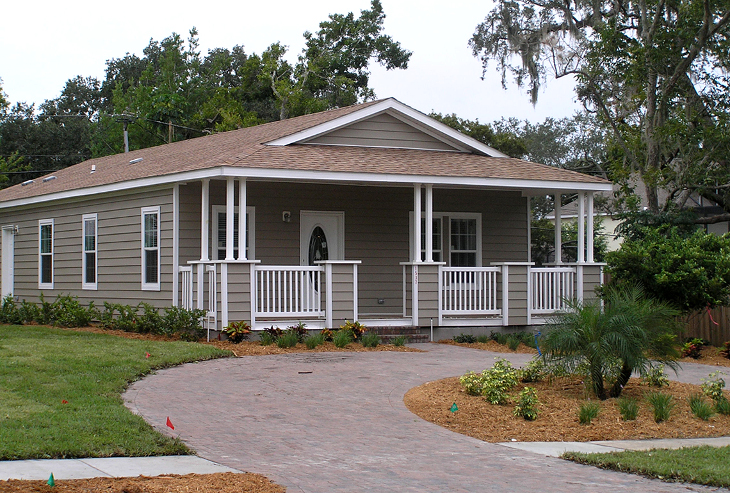 Front driveway of modular home