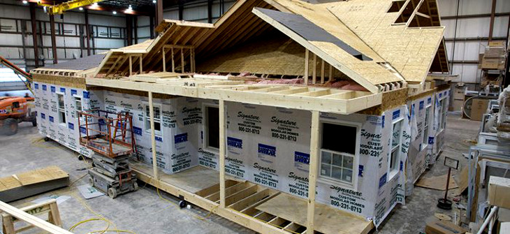 Modular home on manufacturing floor