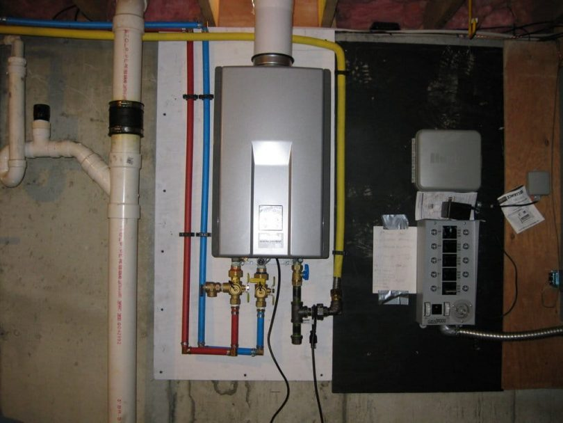 Tankless water heater in basement