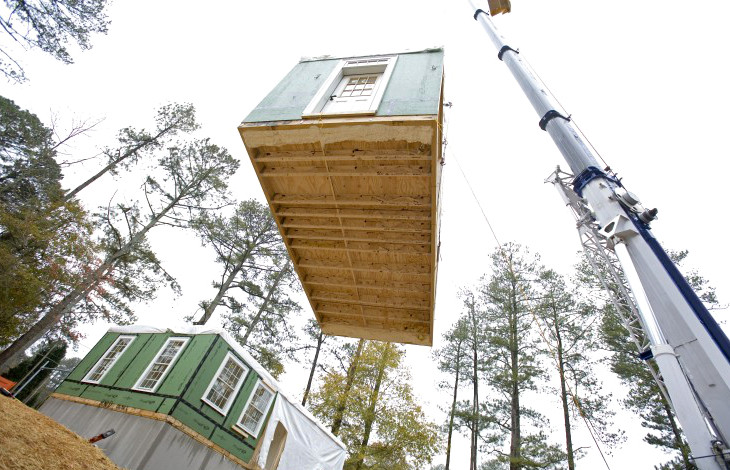 Modular home builders at work