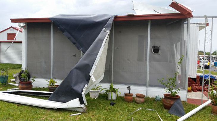 Mobile home damaged by storm