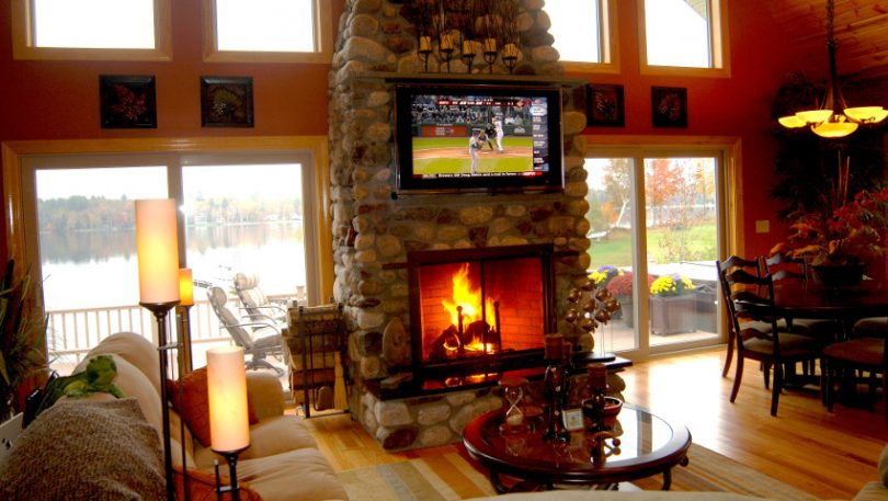 Modular home with fireplace