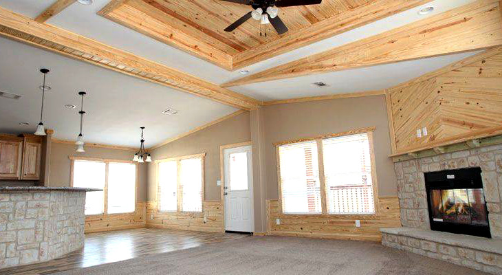 Undecorated high ceiling mobile home