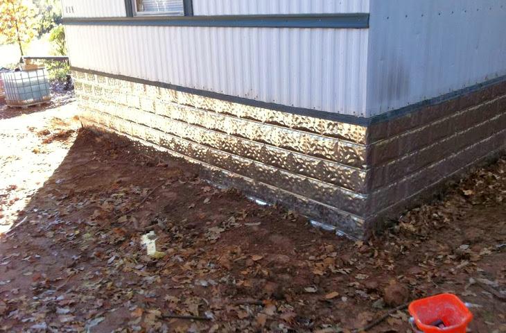 Faux brick metal skirting