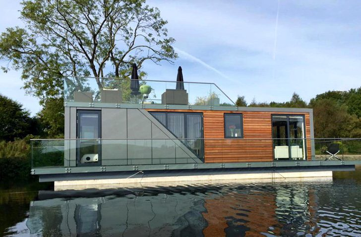 Floating prefabricated metal home