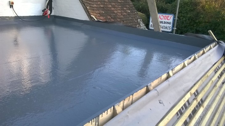 Freshly applied liquid roofing