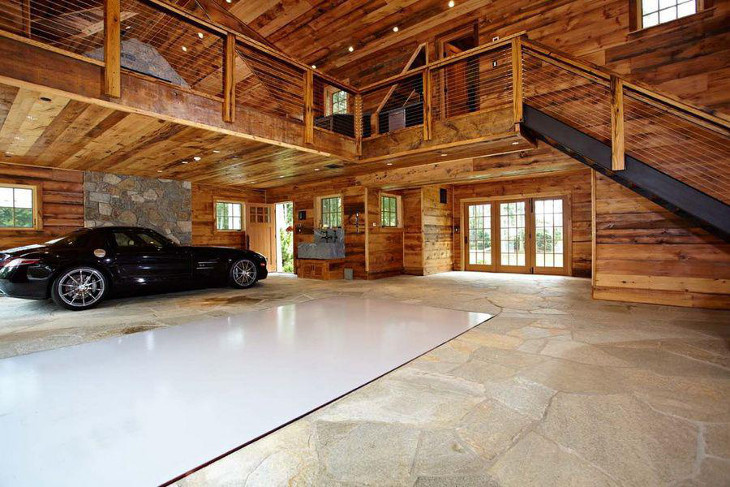 Prefab barn home interior garage