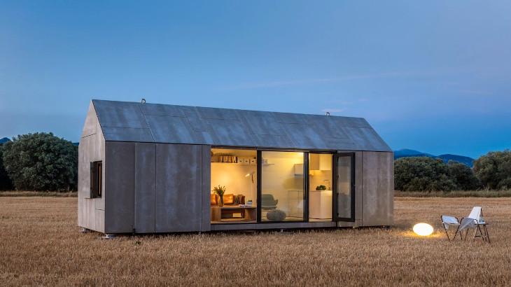 Prefab home on grassland