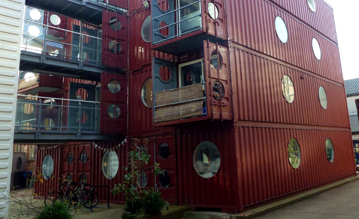 Shipping container apartment complex