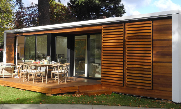 Small modular home sliding doors