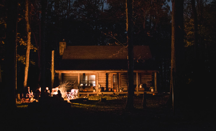 Cabin home at night