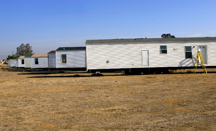 Mobile homes on temporary base