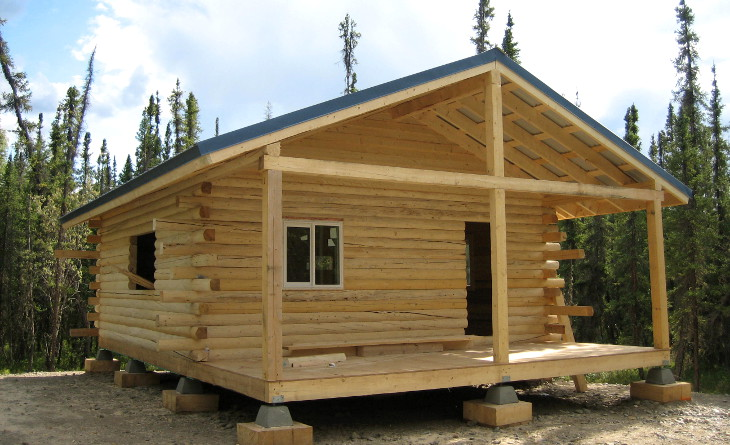 Newly installed modular log house