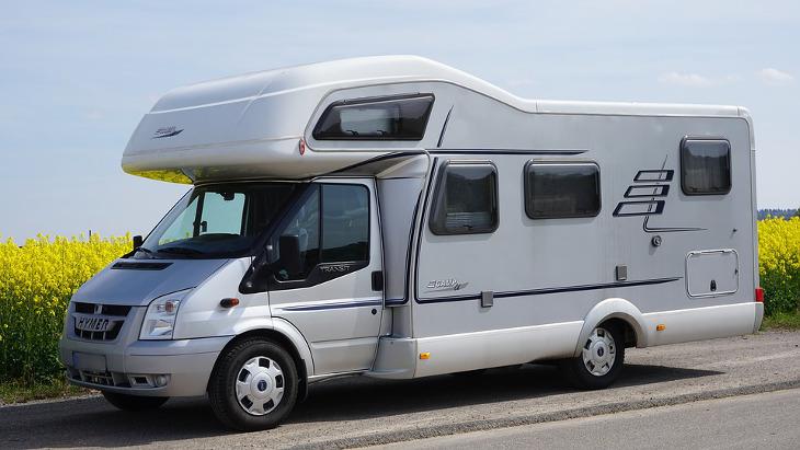 White mobile camper